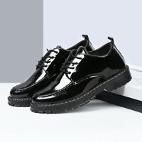 Men Oxfords Patent Leather Dress Shoes Lace Up British Style Brogues Low Heel