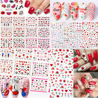 Tips DIY Manicure Rose Flowers Butterfly Red Nail Art Decals 3D Nail Stickers