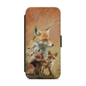 RED FOX FAMILY ANIMAL WALLET FLIP PHONE CASE COVER FOR IPHONE SAMSUNG HUAWEI s20