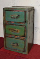 Small 3 Drawer Green Distressed Pine Chest of Drawers Shabby Chic 37.5cm High