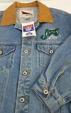 NWT NEW YORK JETS NFL Men's Sz Large Jean Denim ProElite Trucker Jacket