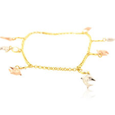 14K Tricolor Gold Cubic Zircornia Dolphin Anklet