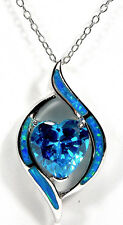 """18"""" Necklace 925 Sterling Silver Blue Topaz & Blue Fire Opal Inlay Heart Pendant"""