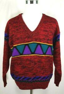 Arrow Criterion Sweater Size Large Vintage V-Neck Southwestern Red 100% Wool