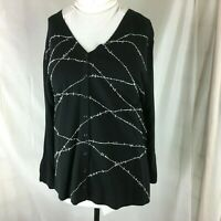 Josephine Chaus Black Cardigan Sweater Plus size 3 Embellished Tunic length
