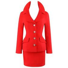 DOLCE & GABBANA A/W 1995 2 Piece Red 100% Wool Blazer Mini Skirt Suit Set