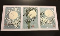 Asian Oriental Moon Blossoms Triptych 3 paintings Signed Blue Wall Art Framed