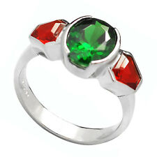 De Buman 3.08ctw Created Emerald & Ruby Sterling Silver Girls' Ring, Size 7.5