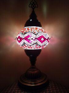 "Turkish Desk Lamps new Handmade Mosaic Brass base pink 13.5"" USA seller"