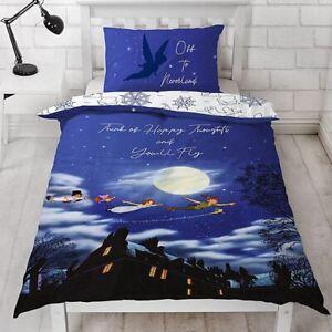 Peter Pan Single Duvet Cover Set Disney Tinker Bell Happy Boys Girls Bedding