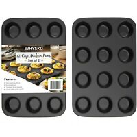 Non-Stick Bakeware 12 Cup Heavy Duty Muffin Pan, Set of 2