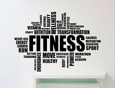 Fitness Word Cloud Wall Decal Motivational Gym Vinyl Sticker Decor Mural (98gy)