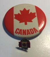"Vintage Canada Flag Button Pin 2 1/4"" Canadian Plus Lapel Pin"