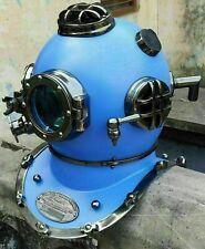 Morse Vintage Blue Divers Sea Us Navy Mark V Diving Helmet Scuba Antique Helmet