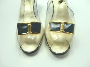 Vintage California Magdesians Shoes Womens Navy Clear Vinyl Heeled Size 9.5W