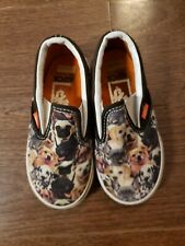 Toddler Size 8 Vans Off The Wall Slip on tennis shoes sneakers DOGS Boy Girl