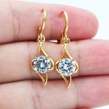 18K Yellow Gold Filled Hollow White Round Topaz Zircon Women Dangle Earrings