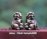 3 CM Chinese 100% Pure Bronze Foo Dog Lion Play Ball Animal Beast Sculpture Pair