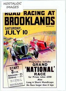 Nostalgic 1937 Brooklands motor race greeting card.Hand made.blank inside. 2962