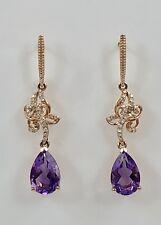 Genuine Amethyst (2.06ct) & Diamond Solid 14kt Rose Gold Dangle Earrings, New
