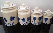 Hartstone Canister Set TULIP Rare 1983 Blue & White Vintage Ceramic Pottery USA