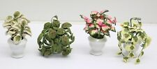 NEW Set Of 4 Dolls House Miniature 1:12 Scale Plants In Ceramic Pots FREE P&P