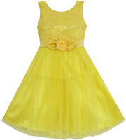 Girls Dress Shinning Sequins Tulle Layers Party Pageant Yellow Age 2-10 Formal