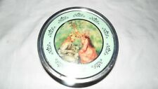 VINTAGE TIN CAN SEWING BUTTON CONTAINER YOUNG GIRLS PICKING FLOWERS #97971