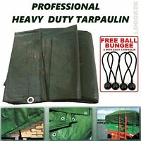 Professional Tarpaulin Heavy Duty Waterproof Cover Ground Sheet + BUNGEE BALLS