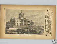 1878 PAPER AD Jefferson City Missouri State Capitol Building