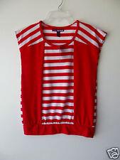Epic Threads Block N Stripe Girls Red Sleeveless T-shirt size Large NWT G82694