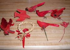 8 Vintage Christmas Red Flocked Birds Cardinals Doves Baby bird Clip Wire Hang