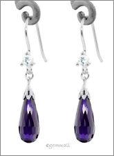 Silver Dangle Earrings w/CZ Drop Amethyst Purple #53008