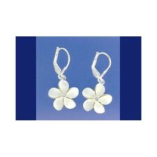 SILVER 925 HAWAIIAN PLUMERIA LEVERBACK EARRINGS CZ 15MM 2 TONE