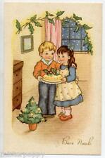 Bambini con Albero di Natale Torta Childrens Xmas PC Circa 1930 Italy