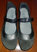NAOT Kirei Mary Jane Shoes Gray Suede Patent Leather Womens Euro Sz 38 US 7 $189