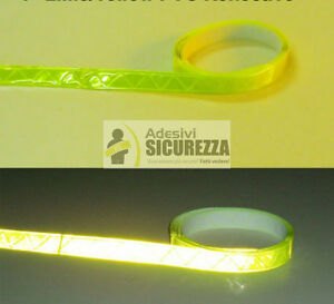 Nastro in PVC riflettente fluorescente da cucire sui vestiti giallo 25mm x 5MT