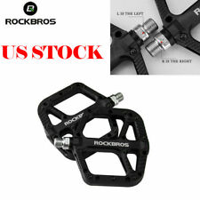 ROCKBROS Mountain Bike Wide Nylon Bearing Pedal Bike Flat Platform US Black Pair
