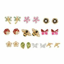 New Avon Spring Is In The Air 10 Pair Earring Set Butterfly Lady Bugs Flower NIB