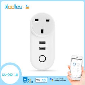 UK Smart Plug Power Socket Switch Dual USB WIFI APP for eWelink Goole Home Alexa