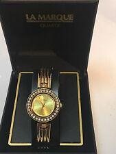 Vintage La Marque  Ladies Gold Tone Quartz Watch  W/stones  (LM9092)