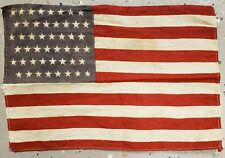 ANTIQUE 48 STAR PARADE FLAG STAGGERED OFFSET PATTERN 1896 - 1918 CHICAGO WW1 ERA