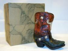"Cowboy Boot Vase Pen Pencil Holder Steer skull design 4 1/2"" Western Decor"