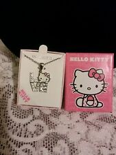 "HELLO KITTY Love Pendant with Crystals 15"" Necklace NWT !"