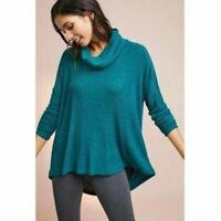 ANTHROPOLOGIE SATURDAY SUNDAY size XS/S teal oversized cowl neck thin sweater