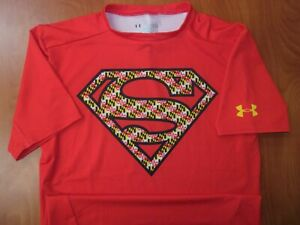 Under Armour Maryland Terrapins DC Comics Superman Compression Shirt L ~NEW~