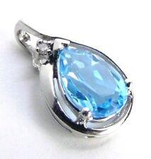 Genuine 2.00 ctt Blue Topaz & DIAMOND 10K White GOLD Pendant
