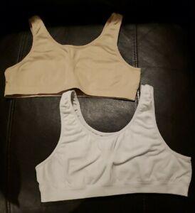 Girls Seamless Sports Bra Size 34 ~ Set of 2 ~ White & Beige ~ Fruit of the Loom