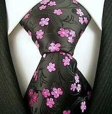 Black and Pink Floral Necktie - Jacquard Woven Floral Tie - Black Pink Neckwear
