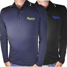 Maglia polo t-shirt 2345 Carlsberg uomo inverno elasticizzata manica lunga